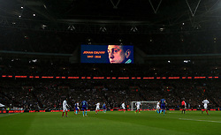 Photo taken on March 29, 2016 shows a general view in the 14th minute of the match in honour of Johan Cruyff during the International Friendly Match between England and the Netherlands at Wembley Stadium in London, Britain, on March 29, 2016. England lost 1-2. EXPA Pictures © 2016, PhotoCredit: EXPA/ Photoshot/ Han Yan<br /> <br /> *****ATTENTION - for AUT, SLO, CRO, SRB, BIH, MAZ, SUI only*****