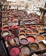 Vats of dyes in centuries-old tannery, Fez, Morocco