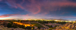 """""""Reno, Nevada Sunset 2"""" - Panoramic photograph of a Nevada shaped horse corral and Reno, Nevada shot at sunset."""