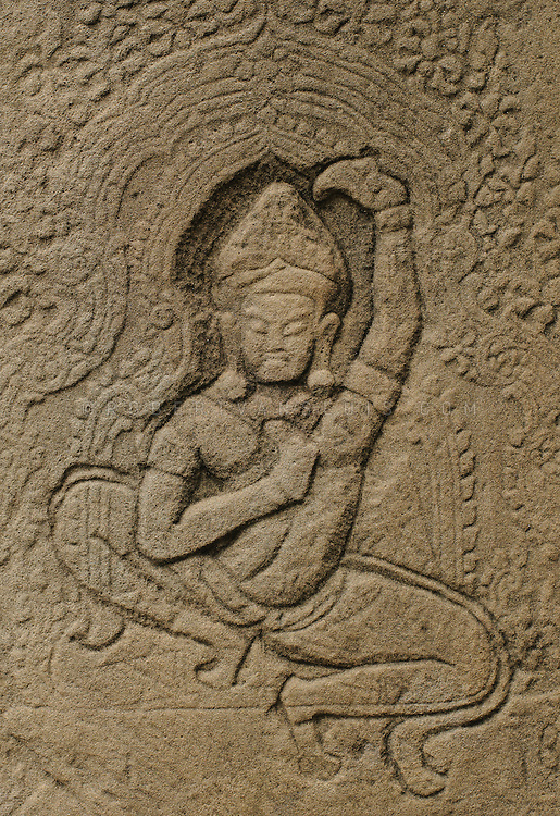 Stone carving at the Angkor temple complex, Cambodia