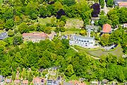 Nederland, Gelderland, Wageningen, 13-05-2019; zicht op de Wageningse berg met links Het Schip van Blaauw, voormalige Laboratorium voor Plantenfysiologie van de Landbouwhogeschool Wageningen (architect C. J. Blaauw).<br /> <br /> View of the Wageningse berg monument.<br /> <br /> luchtfoto (toeslag op standard tarieven);<br /> aerial photo (additional fee required);<br /> copyright foto/photo Siebe Swart