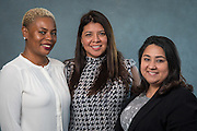 Dimitrie Rainey, Adelina Alcala and Janet Orozco pose for a photograph during the Professional Learning Series at NRG Center, June 15, 2016.