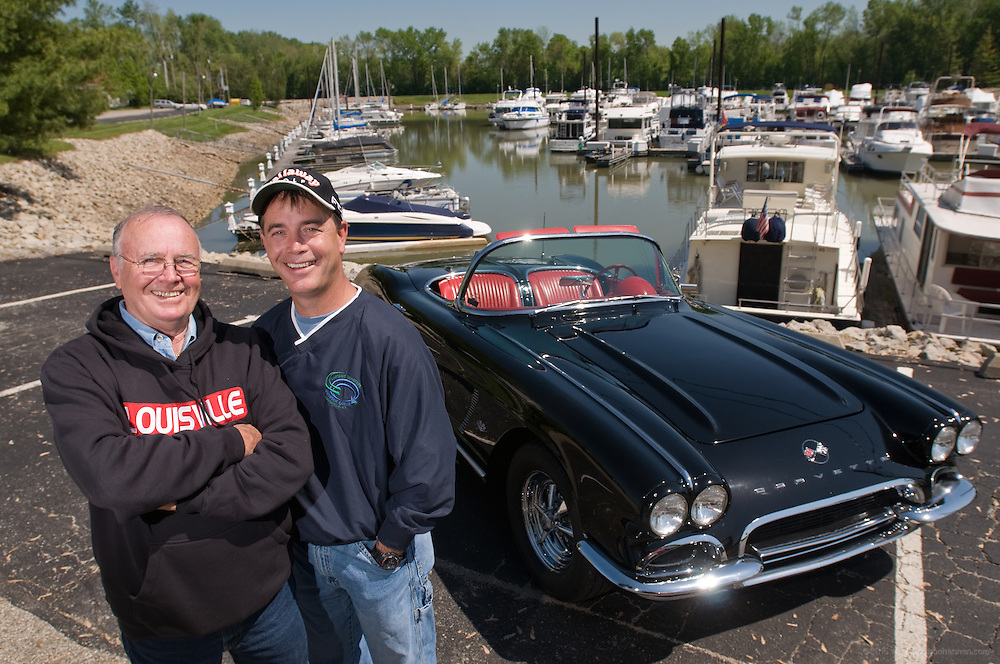 The black '62 convertible Corvette attorney Jimmy Ballinger bought his father, David Ballinger, photographed at Limestone Bay Marina on the Ohio River in Crestwood, Ky.