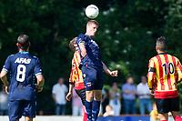 Enkhuizen, 06-07-2013,West Frisia - AZ - Markus Henriksen van AZ wint het kopduel,. seizoen 2013 / 2014.
