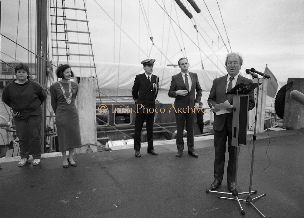 Asgard II departs for Australia.   (R66)..1987..15.10.1987..10.15.1987..15th October 1987..The Asgard II training ship departed from the National Yacht Club in Dun Laoghaire en route to Australia. The Asgard II was a purpose built training brigantine built by Jack Tyrrell in Wicklow. On hand to sent the Asgard Ii on her way was An Taoiseach, Mr Charles Haughey, and Mr Frank Milne the Australian Ambassador to Ireland...Image shows An Taoiseach, Mr Charles Haughey TD, giving a sppeech prior to the departure of Asgard II to Australia.