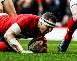 Hadleigh Parkes of Wales scores his sides first try<br /> <br /> Photographer Simon King/Replay Images<br /> <br /> Six Nations Round 5 - Wales v Ireland - Saturday 16th March 2019 - Principality Stadium - Cardiff<br /> <br /> World Copyright © Replay Images . All rights reserved. info@replayimages.co.uk - http://replayimages.co.uk