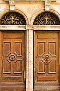 Wooden doors in old town Vieux Lyon, France (UNESCO World Heritage Site)