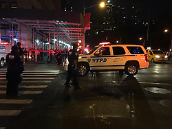 NEW YORK, Sept. 18, 2016 (Xinhua) -- The cellphone photo taken on Sept. 17, 2016 shows policemen on duty near the site of an explosion in New York, the United States. A total of 25 people have been injured in an explosion in the Chelsea neighborhood of Manhattan on Saturday evening, and the cause of the blast is under investigation, the New York City Fire Department said. (Xinhua/Li Muzi) (wtc) (Credit Image: © Li Muzi/Xinhua via ZUMA Wire)