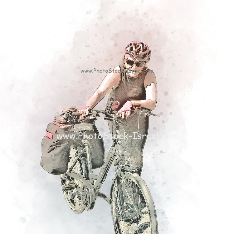 Digitally enhanced image of a Fatigued cyclist pushes her bike up the steep climb to Guarda, Switzerland Model release available