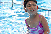 Young girl of four in the swimming pool