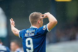 Dundee's Andrew Nelson scoring their goal. Dundee 1 v 0 Ayr United, Scottish Championship game played 10/8/2019.