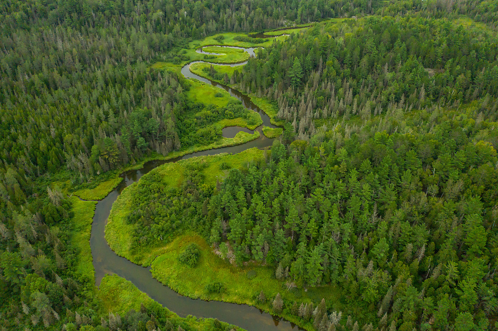 Drone view of the Carp River near Ishpeming, Michigan in Marquette County.