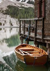 THEMENBILD - ein Ruderboot am Bootsverleih auf dem Pragser Wildsee, aufgenommen am 11. Mai 2018, Prags, Österreich // a rowboat at the boat rental on the Pragser Wildsee on 2018/05/11, Prags, Austria. EXPA Pictures © 2018, PhotoCredit: EXPA/ Stefanie Oberhauser