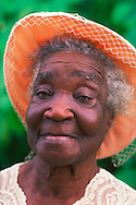 Jamaica, Older Lady with hat going to church