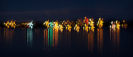 waterfront light reflectons on water abstract multiple exposure panorama night jiggle