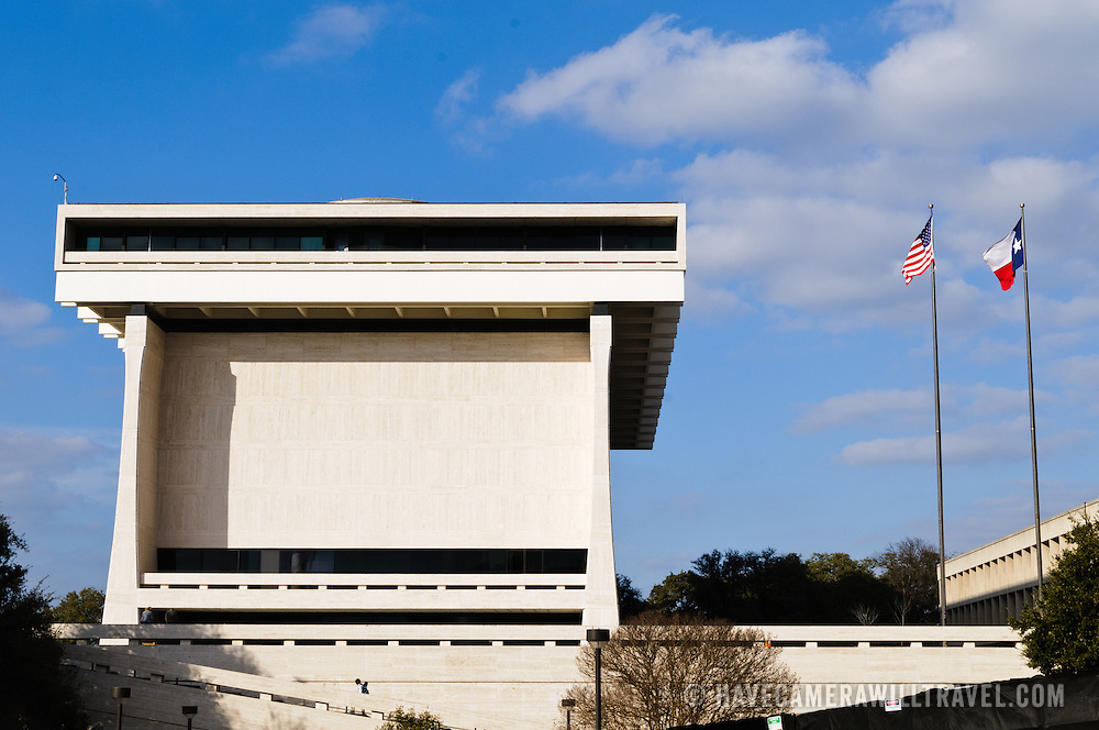 Exterior of the LBJ Library and Museum on the campus of the United of Texas, in Austin, TX. A federal government facility operating as part of the National Archives and Records Administration (NARA), the library houses an archive of the documents of President Lyndon B. Johnson's administration. Also in the building is a museum dedicated to President Johnson that is run by the LBJ Foundation. Dedicated in May 1971, the building is of a brutalist style of architecture.