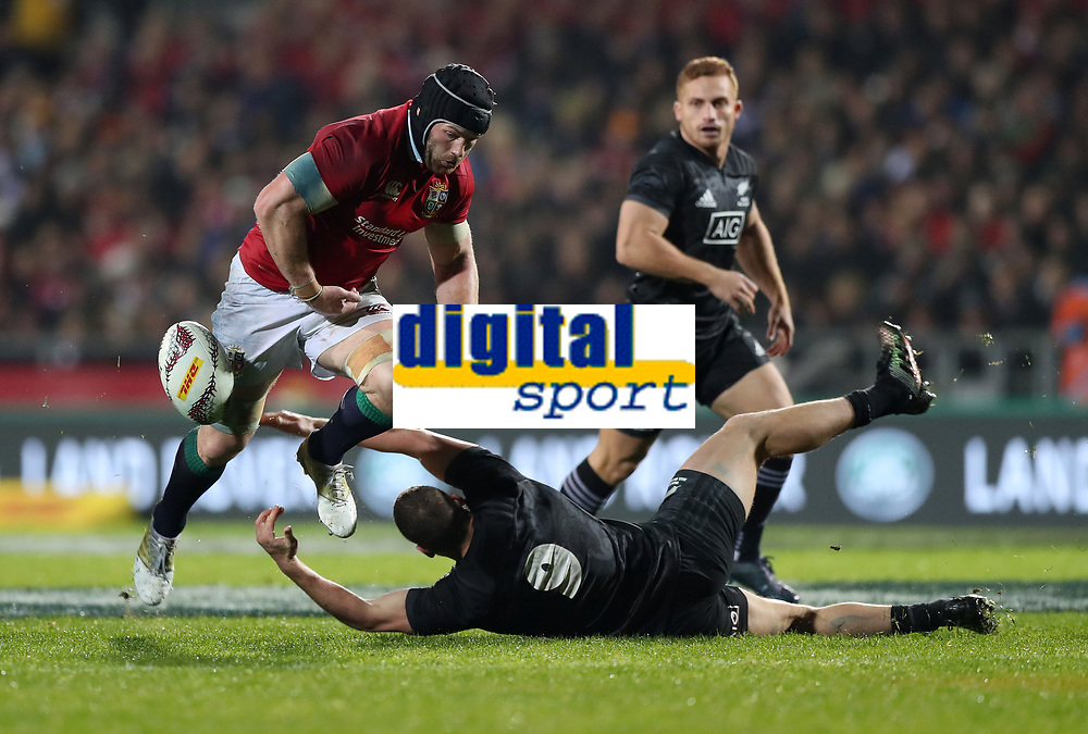 Rugby Union - 2017 British & Irish Lions Tour of New Zealand - Maori All Blacks vs. British & Irish Lions<br /> <br /> Tawera Kerr-Barlow of Maori All Blacks get to the ball ahead of Sean O'Brien of The British and Irish Lions  at Rotorua International Stadium, Rotorua.<br /> <br /> COLORSPORT/LYNNE CAMERON