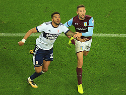 Conor Hourihane of Aston Villa holds off Cyrus Christie of Middlesbrough as they wait for the ball to drop - Mandatory by-line: Paul Roberts/JMP - 12/09/2017 - FOOTBALL - Villa Park - Birmingham, England - Aston Villa v Middlesbrough - Skybet Championship