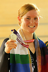 Lauren Ellis celebrates winning silver during the Women's 25km Points Race final in the Velodrome at the Indira Gandhi Sports Complex in New Delhi as part of the X1X Commonwealth Games, India on the 5 October 2010..Photo by:  Ron Gaunt/SPORTZPICS/PHOTOSPORT