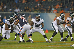 Josh Andrews #68 of the Philadelphia Eagles against the Chicago Bears at Soldier Field on August 8, 2014 in Chicago, Illinois. The Bears won 34-28. (Photo by Drew Hallowell/Philadelphia Eagles