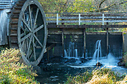 Photograph of historic Hyde's Mill, a former water-driven mill on Mill Creek, near Ridgeway, Wisconsin, USA.