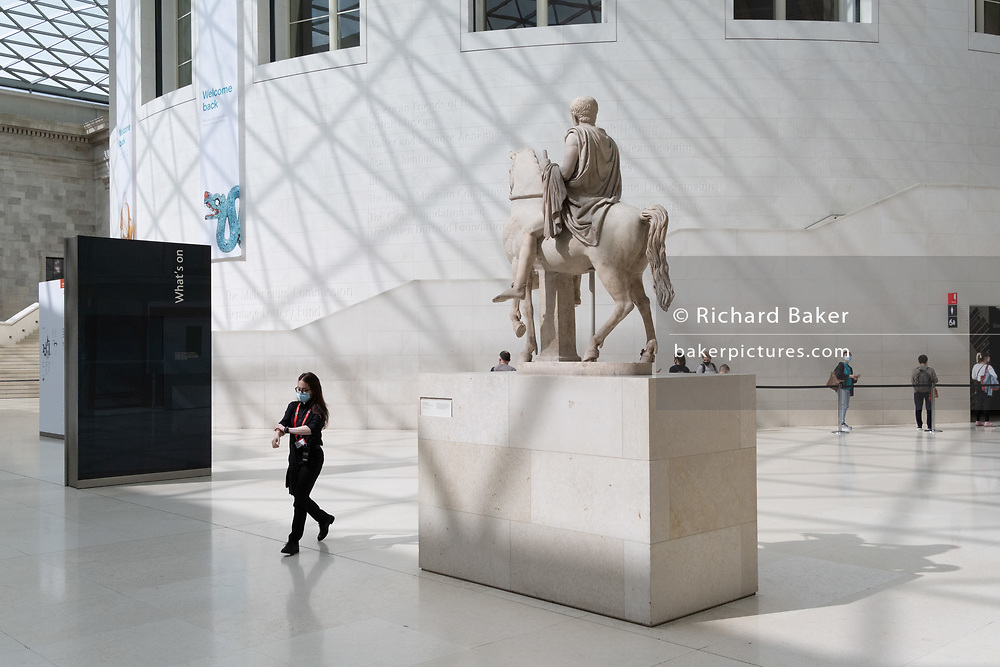 Now re-opened after months of closure during the Coronavirus pandemic, some of the first visitors who have pre-booked free tickets, once again enjoy the historical artifacts at the British Museum, on 2nd September 2020, in London, England. The marble statue is of a youth on horseback, possibly from 1st Century Rome and restored in the 16th century by Renaissance architect and sculptor, Giacomo della Porta.
