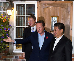 © Licensed to London News Pictures. 22/10/2015. Princess risborough, UK. Chinese president XI JINPING and British prime Minister DAVID CAMERON visit the plough pub in Cadsden near Princess Risborough, Buckinghamshire, where they are expected to eat fish and chips. Photo credit: Ben Cawthra/LNP