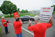 Independent Laboratory Employees Union members strike May 3, 2019, outside the Exxon Mobil Corp. research facility on Rte. 31 in Annandale, New Jersey. (Photo by Matt Smith)