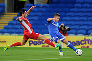 Cardiff City's Declan John (r) shoots at goal as this shot hits the post and is turned in his own goal by Blackburn's Shane Duffy (out of shot) to score his teams 1st goal . EFL Skybet championship match, Cardiff city v Blackburn Rovers at the Cardiff city stadium in Cardiff, South Wales on Wednesday 17th August 2016.<br /> pic by Carl Robertson, Andrew Orchard sports photography.