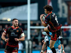 Zane Kirchner of Dragons claims the high ball<br /> <br /> Photographer Simon King/Replay Images<br /> <br /> Guinness PRO14 Round 12 - Dragons v Ospreys - Sunday 30th December 2018 - Rodney Parade - Newport<br /> <br /> World Copyright © Replay Images . All rights reserved. info@replayimages.co.uk - http://replayimages.co.uk