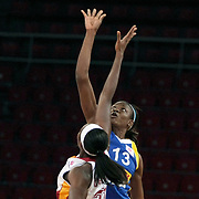 Lotos Gdynia's Aneika HENRY (R) during their woman Euroleague group A matchday 5 Galatasaray between Lotos Gdynia at the Abdi Ipekci Arena in Istanbul at Turkey on Wednesday, November 09 2011. Photo by TURKPIX