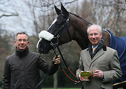Managing Director of Cheltenham Racecourse Ian Renton (right) and Clerk of the course Simon Claisse with last year's Gold Cup winner Don Cossack during a photo call at St Stephens Green, Dublin.
