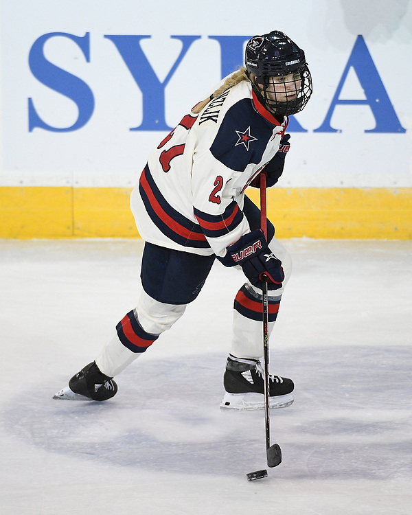 ERIE, PA - MARCH 06: Kyleigh Hanzlik #21 of the Robert Morris Colonials skates with the puck in the second period during the CHA Tournament Championship game against the Syracuse Orange at the Erie Insurance Arena on March 6, 2021 in Erie, Pennsylvania. (Photo by Justin Berl/Robert Morris Athletics)