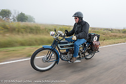 Jeff Tiernan of New York riding his Mark Hill restored 4-cylinder 1913 Henderson class-2 bike during the Motorcycle Cannonball Race of the Century. Stage-8 from Wichita, KS to Dodge City, KS. USA. Saturday September 17, 2016. Photography ©2016 Michael Lichter.