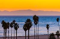 Sunset, Ledbetter Beach (Channel Islands in background), Santa Barbara, California USA.