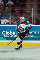 KELOWNA, CANADA - FEBRUARY 8:  Steel Quiring #18 of the Kelowna Rockets skates against the Prince George Cougars on February 8, 2019 at Prospera Place in Kelowna, British Columbia, Canada.  (Photo by Marissa Baecker/Shoot the Breeze)