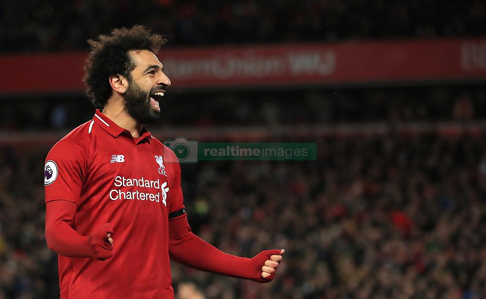 File photo dated 26-04-2019 of Liverpool's Mohamed Salah celebrates scoring.