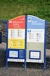 Lifeguard and beach information, Cromer beach, Norfolk, UK July 2019