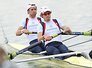 Munich, GERMANY, GBR LM2-. Bow. Adam FREEMAN-PASk and Chris BODDY. Move away from the pontoon in t heTime trial heat Lightweight men's pair, at the FISA World Cup on the Munich Olympic Rowing Course, Friday  27/05/2011  [Mandatory Credit Peter Spurrier/ Intersport Images]