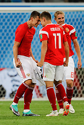 June 19, 2018 - Saint Petersburg, Russia - Ilya Kutepov (L) and Roman Zobnin (N11) of Russia national team celebrate victory during the 2018 FIFA World Cup Russia group A match between Russia and Egypt on June 19, 2018 at Saint Petersburg Stadium in Saint Petersburg, Russia. (Credit Image: © Mike Kireev/NurPhoto via ZUMA Press)