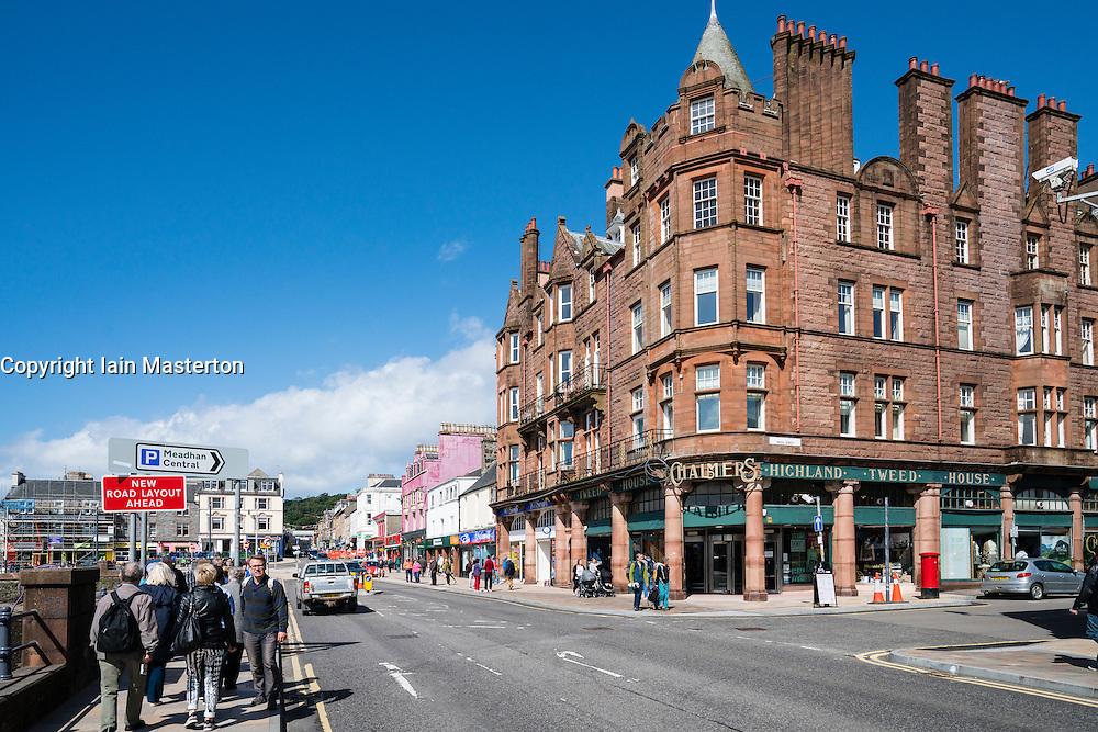 View along waterfront street in central Oban, Argyll and Bute, Scotland, United Kingdom