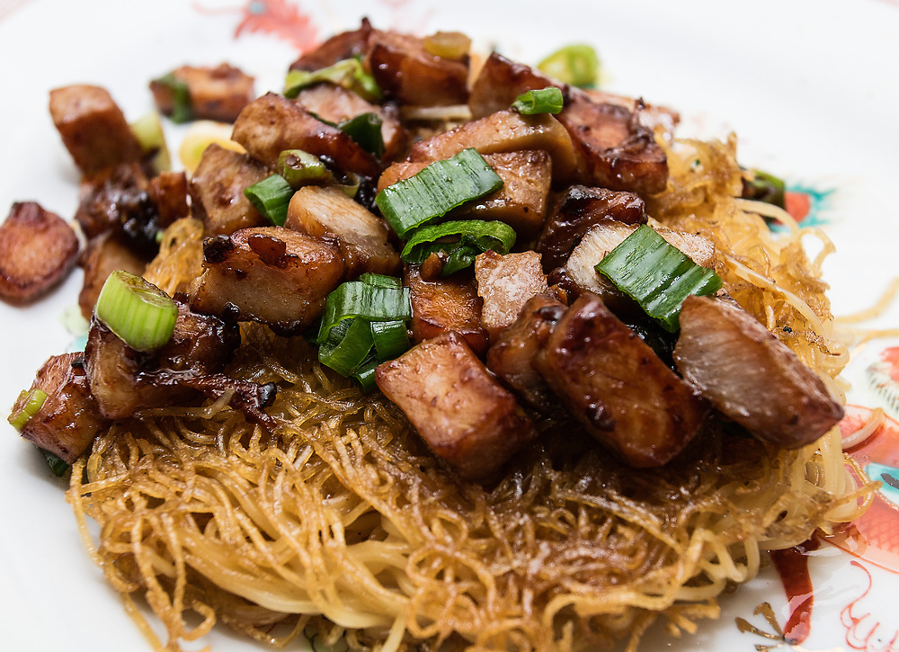 Pan-Fried Noodles with Roast Pork and Scallions in a Black Bean Sauce