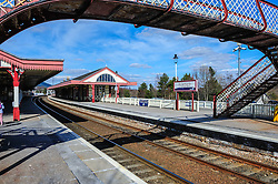Aviemore railway station serves the town and tourist resort of Aviemore in the Highlands of Scotland. The station, which is owned by Network Rail (NR) and managed by First ScotRail, is located on the Highland Main Line between Perth and Inverness, and is also the southern terminus of the Strathspey Steam Railway.<br /> <br /> (c) Andrew Wilson | Edinburgh Elite media