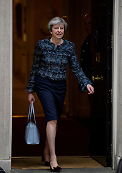© Licensed to London News Pictures. 03/05/2017. London, UK.    British prime minister THERESA MAY leaves Downing Street in London to meet with The Queen to dissolve parliament ahead of an election on June 8. Photo credit: Tolga Akmen/LNP