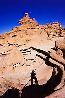 Shadow of hiker, Goblin Valley State Park, Utah