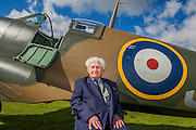 Ken Wilkinson, 96, a veteran RAF pilot who flew Spitfires in the Second World War - Vickers Supermarine Spitfire Mk.1A – P9374/G-MK1A – it was in action in the Battle of France in 1940 and recovered from the sands of a Calais beach in 1980. It was restored by the Aircraft Restoration Company, and will fly in the VE Day Anniversary Air Show (Saturday 23 and Sunday 24 May) at IWM Duxford. Christie's is to offer the Spitfire P9374 for auction in The Exceptional Sale on 9 July 2015.  The estimate for the sale is  £1,500,000-2,500,000. With the plane are John Romain, Pilot and Chief Engineer at the Aircraft Restoration Company and Ken Wilkinson, a veteran who flew Spitfires in the Second World War. IWM Duxford, Cambridge