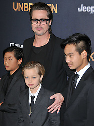 "Pax Thien Jolie-Pitt, Brad Pitt, Shiloh Nouvel Jolie-Pitt & Maddox Jolie-Pitt at the ""Unbroken"" Los Angeles Premiere held at the Dolby Theatre in Hollywood, CA. The event took place on Monday, December 15, 2014. Photo by: Sthanlee B. Mirador/Shooting Star   *** Please Use Credit from Credit Field ***"