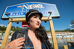 Kissa Von Addams of the Iron Lilies in the annual Bikini contest hosted by Jody Perewitz at the Naswa Beach Resort during Laconia Motorcycle Week 2016. NH, USA. Thursday June 16, 2016.  Photography ©2016 Michael Lichter.