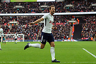 Harry Kane of Tottenham Hotspur celebrates after scoring his teams fifth goal (his 3rd) to complete his hat-trick and break another  goal scoring record. Premier league match, Tottenham Hotspur v Southampton at Wembley Stadium in London on Boxing Day Tuesday 26th December 2017.<br /> pic by Steffan Bowen, Andrew Orchard sports photography.