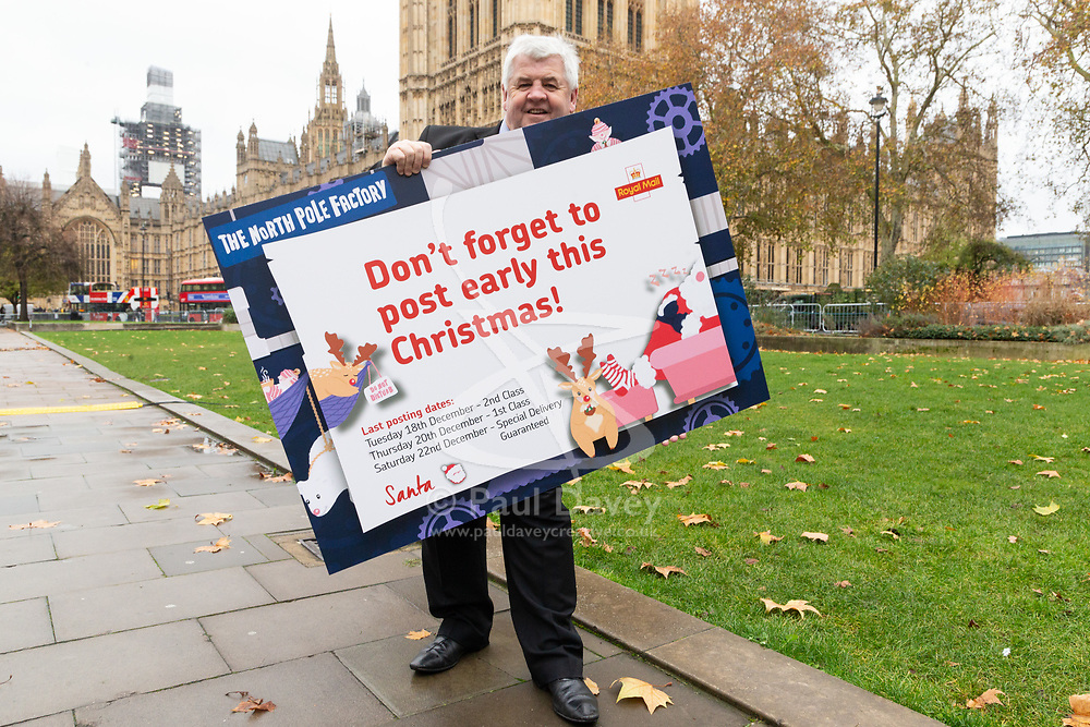 ROYAL MAIL: Former Parcelforce driver Hugh Gaffney MP (Labour Coatbridge) urges members of the public to post their letters and cards early for Christmas. London, November 28 2018.
